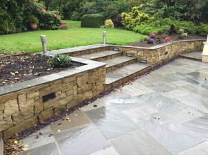 Sussex sandstone dry stone walling